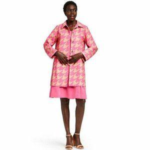 Isaac Mizrahi Pink Houndstooth Print Jacket L Targ
